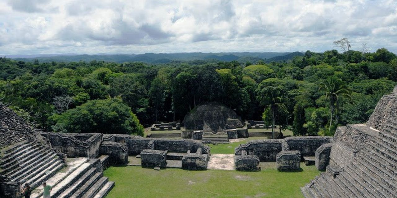 巨大ピラミッドの上からジャングルを見下す(カラコル遺跡)