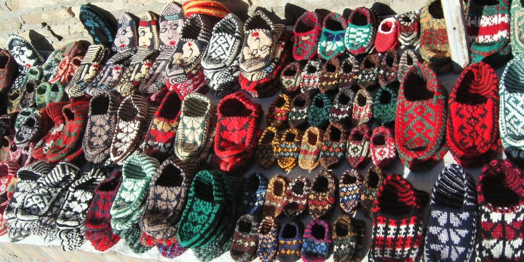 手編みのスリッパや靴下
