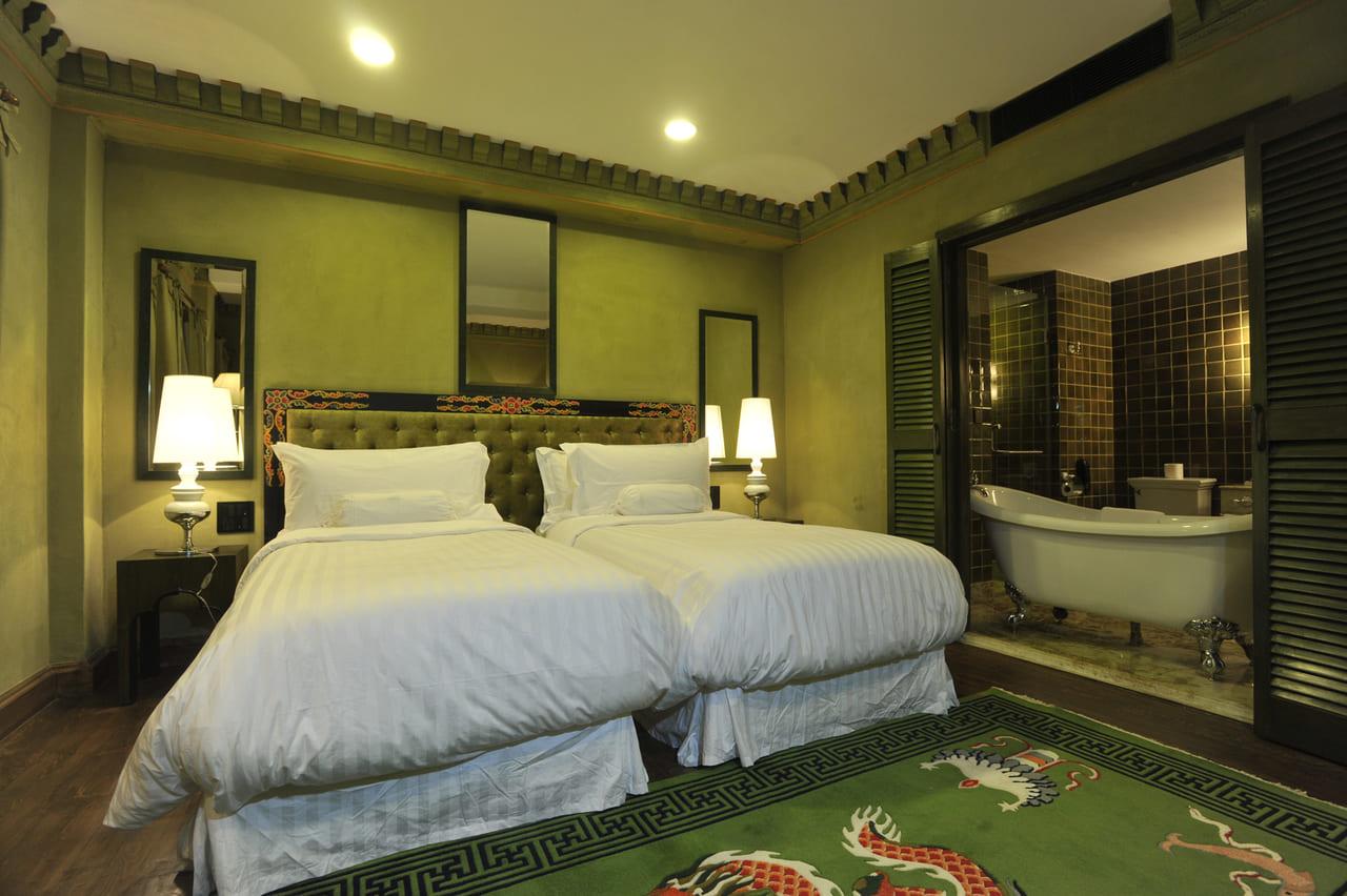 部屋毎にテーマカラーがある。こちらはデラックス・ルーム Green(緑)