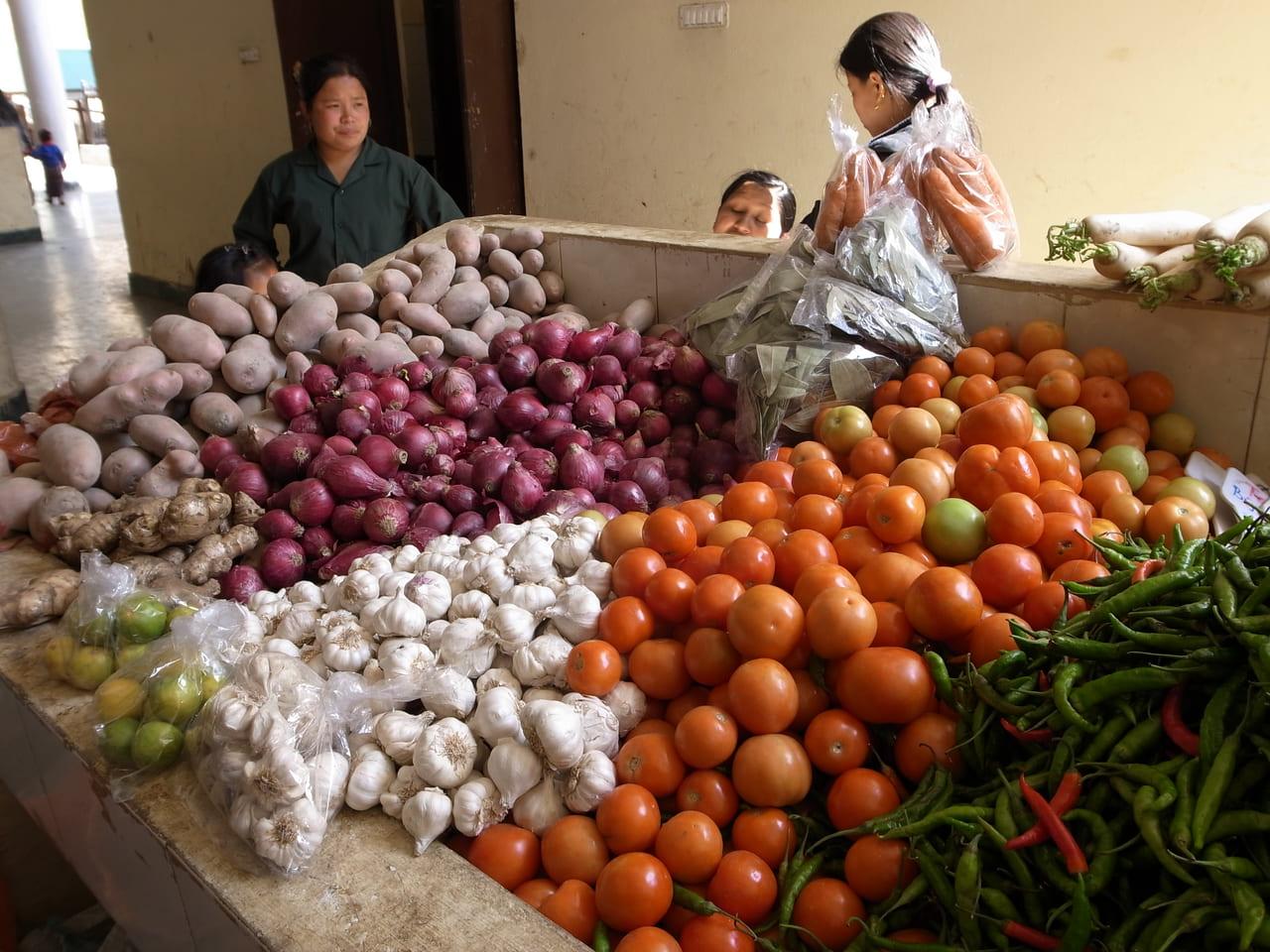 カラフルな野菜。春にトマトが採れるのだろうか