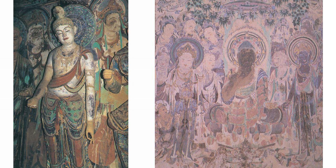莫高窟45窟 盛唐時代の七尊像の釈迦如来と並ぶ一菩薩と莫高窟57窟 初唐時代に描かれた樹下説法図