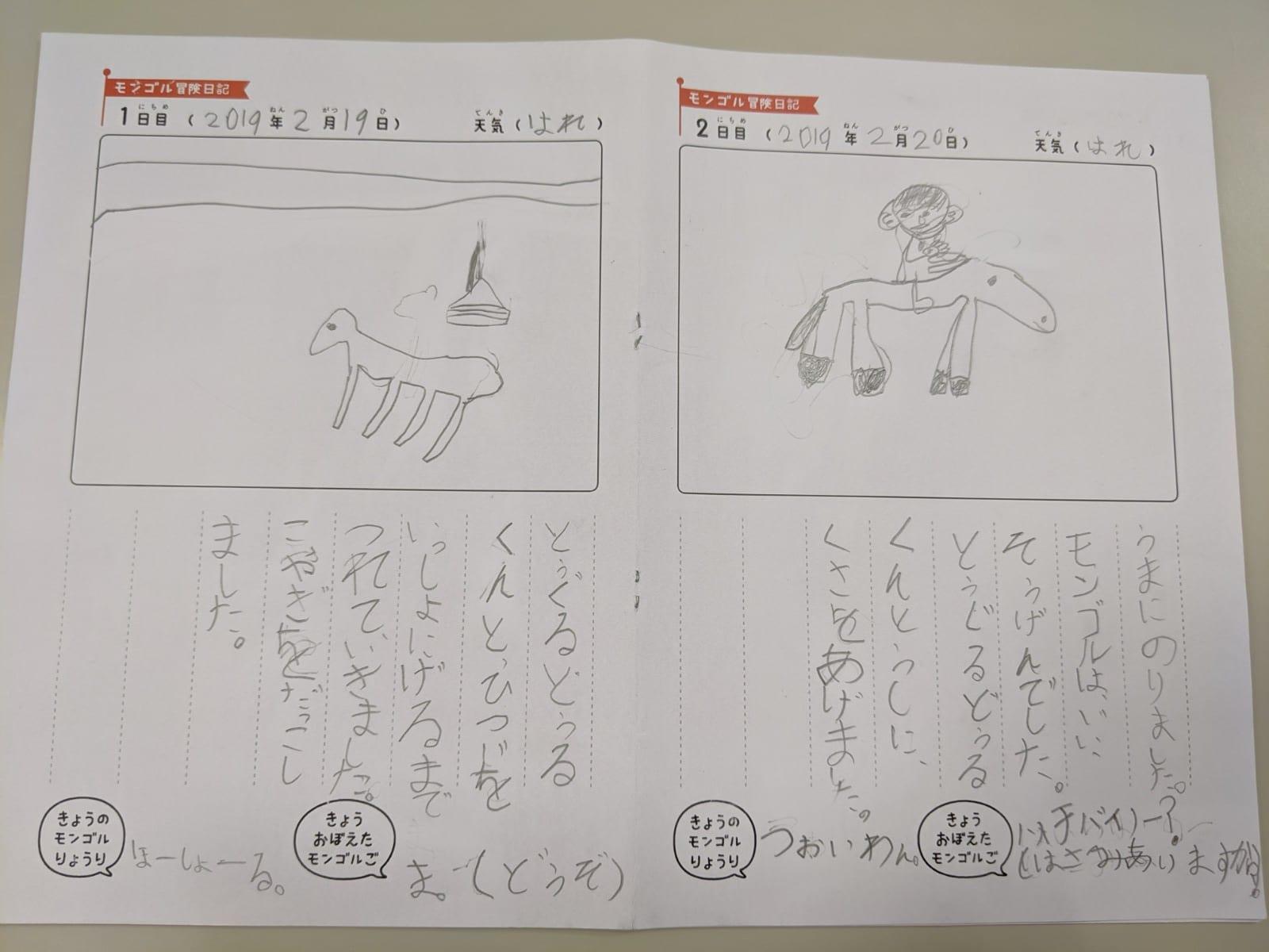 絵日記のページ(羊:左 と 乗馬風景:右)