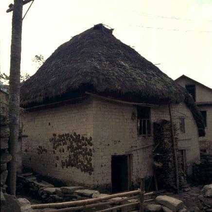 きのこのような屋根を持つ民家(雲南省元陽郊外)