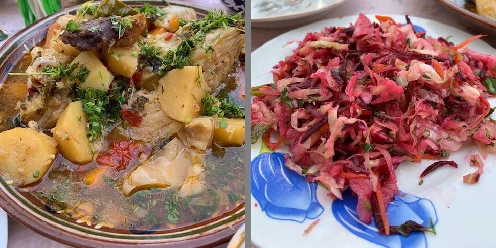 ディムラマは優しい味わい。サラダもさっぱり味!