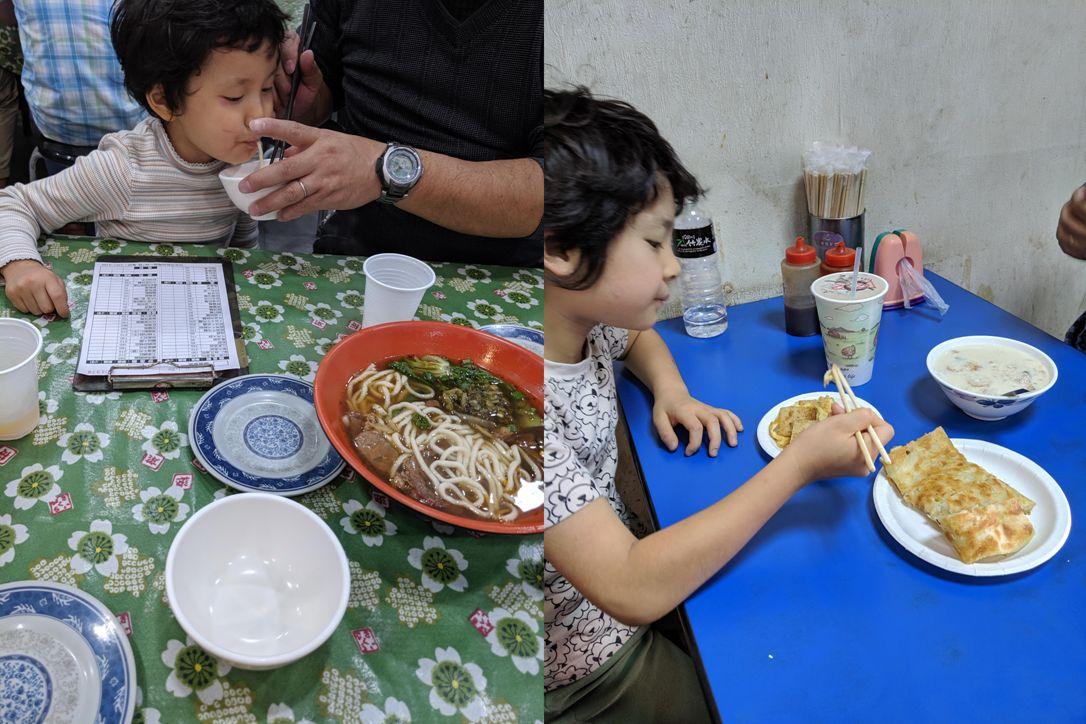 ごはんは地元のお店を楽しみました。(左:お昼ごはんの牛肉麺  右:朝ごはんはお豆腐のような茶碗蒸しのような豆漿)