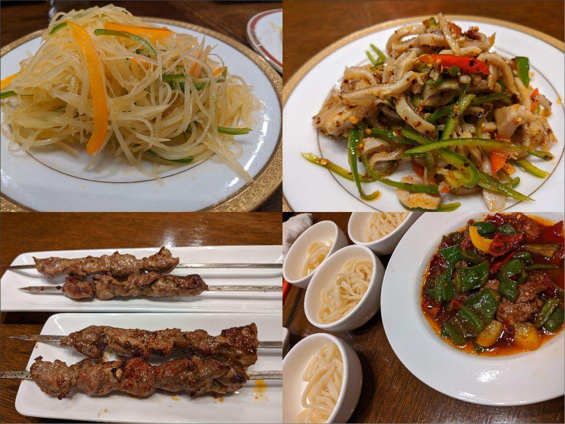 上段:ジャガイモのサラダ&羊の胃袋のサラダ。下段:カワップとラグメン