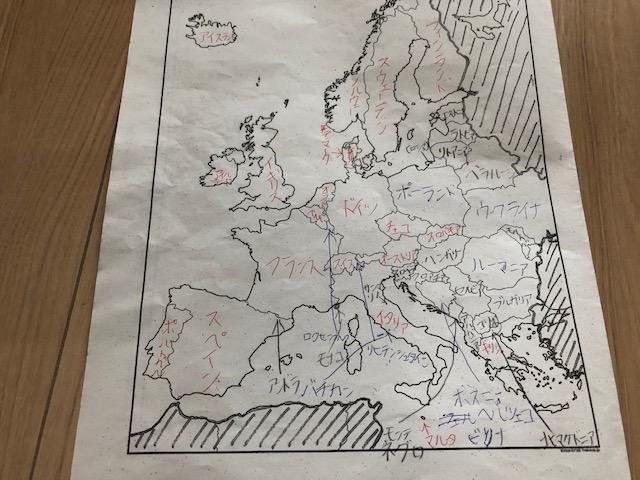 """=""""ヨーロッパの白地図に国名を埋めていく課題"""""""