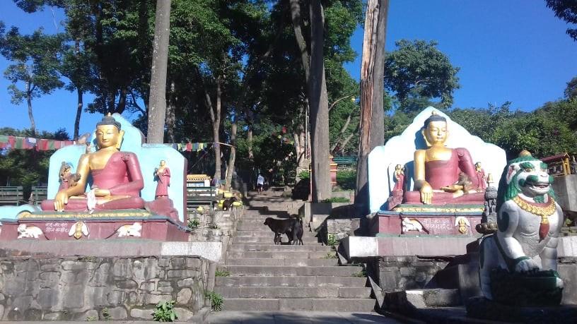 目玉寺・スワヤンブナートの正面にある巨大な仏像